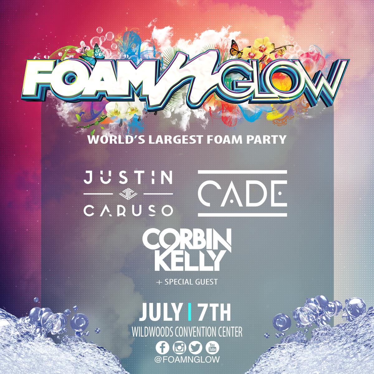 Foam N Glow Wildwood NJ 2018 line up Justin Caruso cade Corbin Kelly